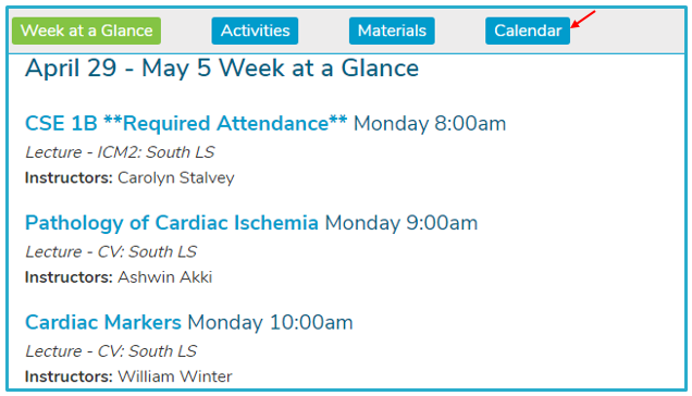 Click the Calendar button to see the calendar view for your sessions.