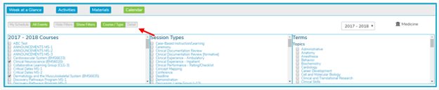 Click Detail to select all courses within a given year or cohort.